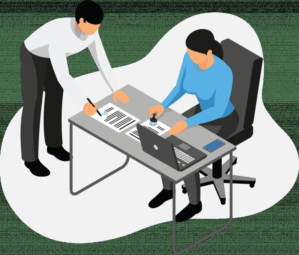 Vertrag am Schreibtisch