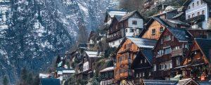 Häuser mit Schnee